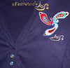 "FashWand Jeweled Embroidery Cotton Polo ""Blue Coral"""