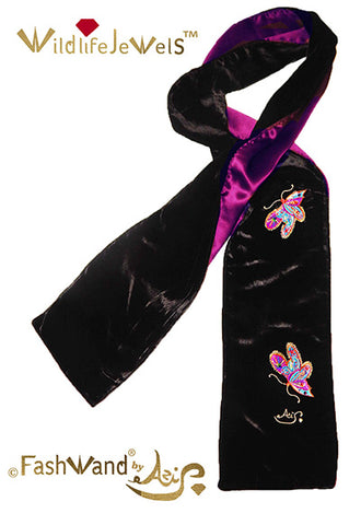 "FashWand Jeweled Metallic Embroidery Silk Velvet Scarf ""Mandarin Garnet The Monarch Butterfly"""