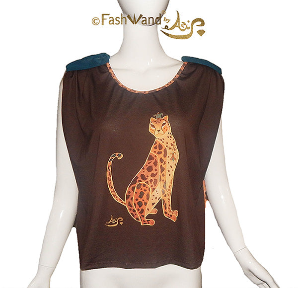 "FashWand Flowy Top ""Turquoise The Cheetah"""
