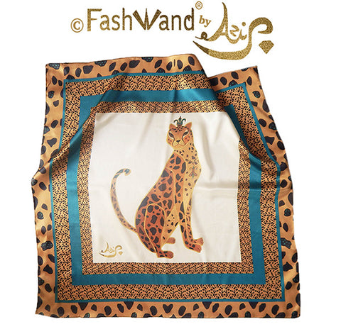 "FashWand 35 x 35 Arte Scarf in Silk Satin ""Turquoise The Cheetah"""