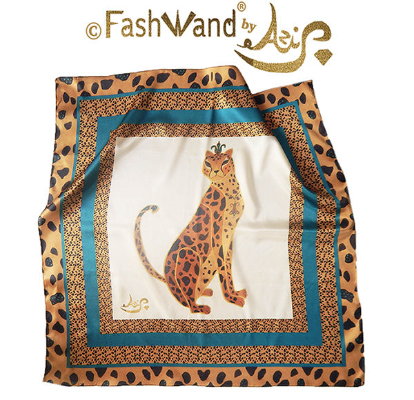 "FashWand 25 x 25 Arte Scarf in Silk Satin ""Turquoise The Cheetah"""