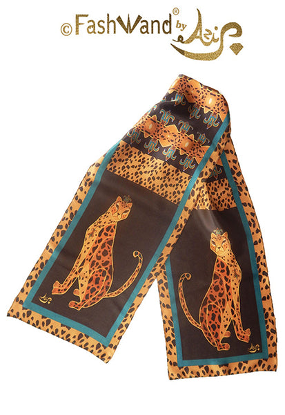 "FashWand 15 x 68 Arte Scarf in Silk Satin ""Turquoise The Cheetah"""