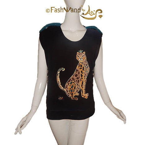 "FashWand Jeweled Embroidery Wool & Lace Top ""Turquoise The Cheetah"""