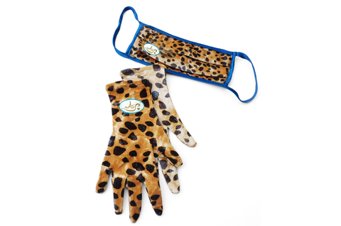 FashWand Velvet Silk Fashion Face Mask with Gloves Turquoise Cheetah Jewels