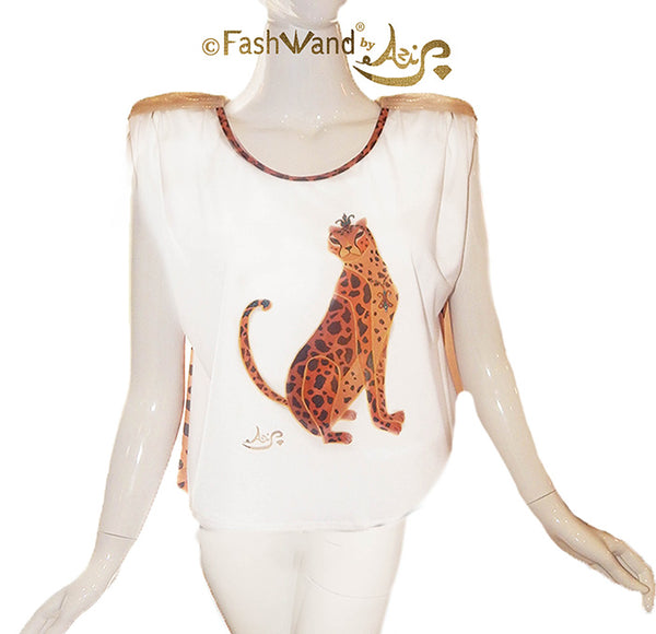 "FashWand Flowy Top White ""Turquoise The Cheetah"""