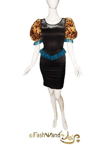 FashWand Turquoise The Cheetah Puff Sleeve Satin Dress
