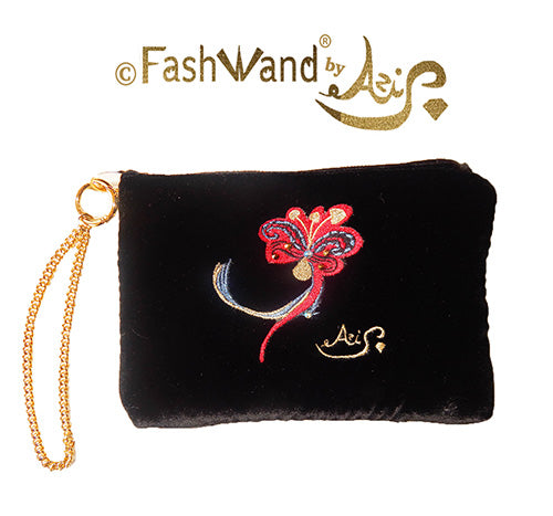 "FashWand Jeweled Embroidered Clutch in Silk Velvet and Lace ""Dancing Flower"""