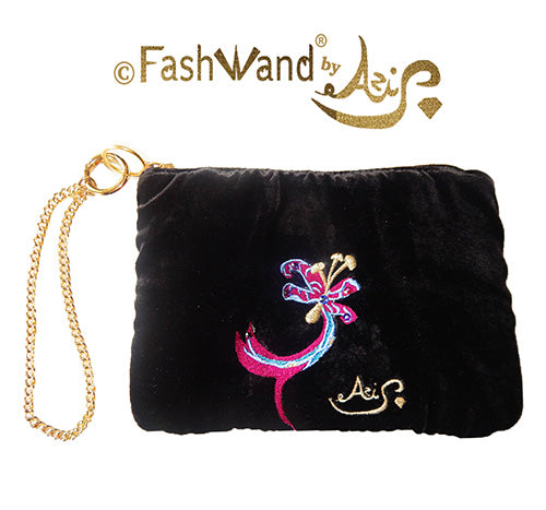 "FashWand Jeweled Embroidered Clutch in Silk Velvet and Lace ""Fuchsia Leopard Flower"""