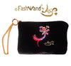 "FashWand Jeweled Embroidered Clutch in Silk Velvet and Lace ""Red Leopard Flower"""