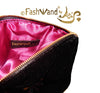 "FashWand Jeweled Embroidered Clutch and Scarf Set in Silk Velvet and Lace ""Fuchsia Leopard Flower"""