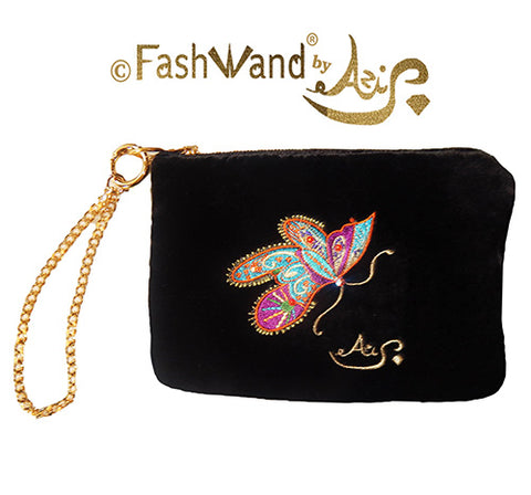 "FashWand Jeweled Embroidered Clutch in Silk Velvet and Lace ""Mandarin Garnet The Monarch Butterfly"""