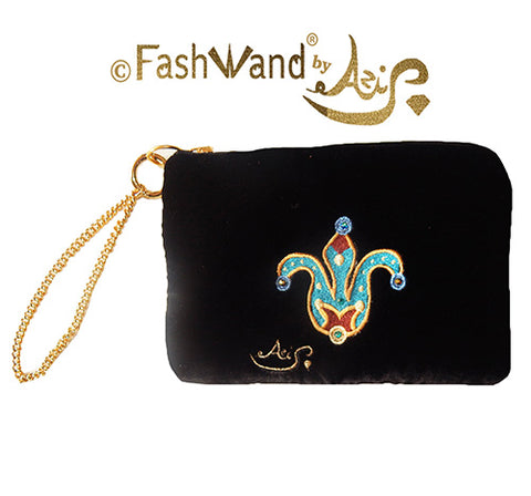 "FashWand Jeweled Embroidered Clutch in Silk Velvet and Lace ""Turquoise The Cheetah Crown"""