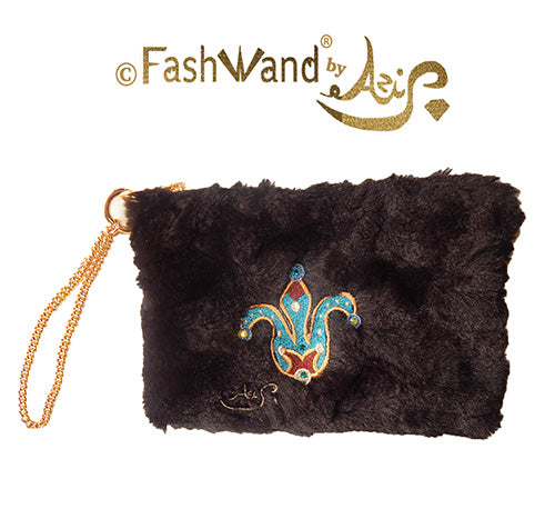 "FashWand Jeweled Embroidered Clutch in Faux Fur ""Turquoise The Cheetah Crown"""