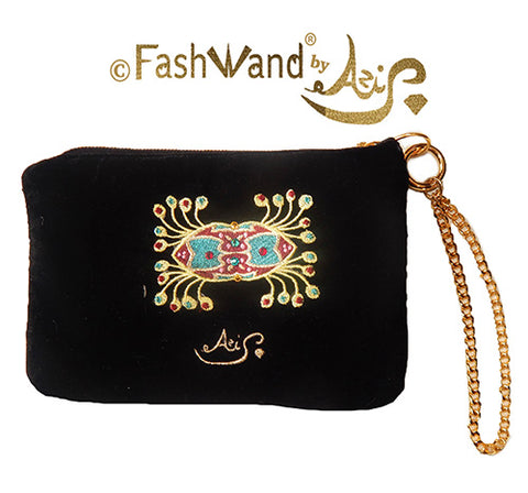 "FashWand Jeweled Embroidered Clutch in Silk Velvet and Lace ""Ruby The Six Plumed Bird of Paradise"""