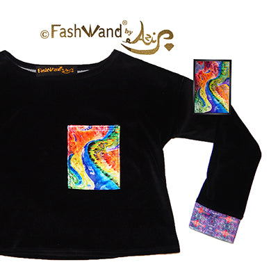 "FashWand Velour Arte Pocket Top ""Dancing Wave"""