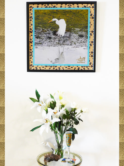 FashWand Great Egret & Turquoise the Cheetah Photography + Painting Print Signed Edition