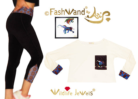 "FashWand Cotton Velour Arte Pocket Top & Leggings ""Lapis Lazuli The Elephant"" Gift Set"