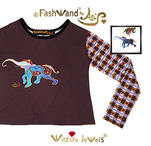 "FashWand Open Back Long Sleeves Velvet Trim Top ""Lapis Lazuli The Elephant"""
