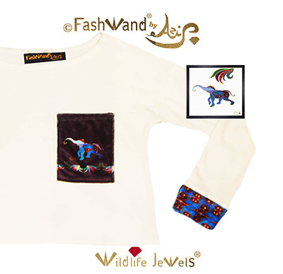 "FashWand Velour Arte Pocket Top ""Lapis Lazuli The Elephant"""
