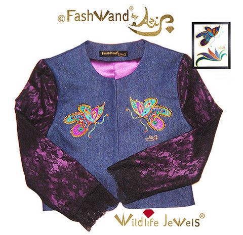 "FashWand Jeweled Embroidery Lacy Silk Denim Jacket ""Mandarin Garnet The Monarch Butterfly"""