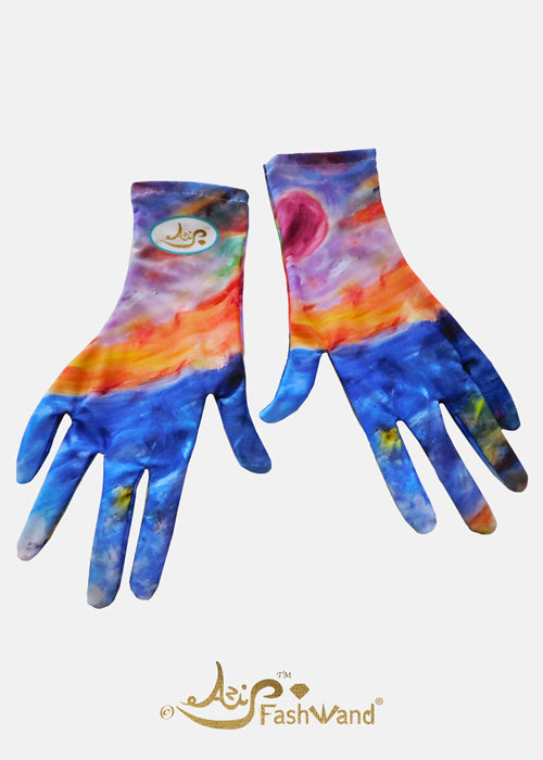 FashWand Silk Fashion Face Mask with Gloves Tropical Moonlight