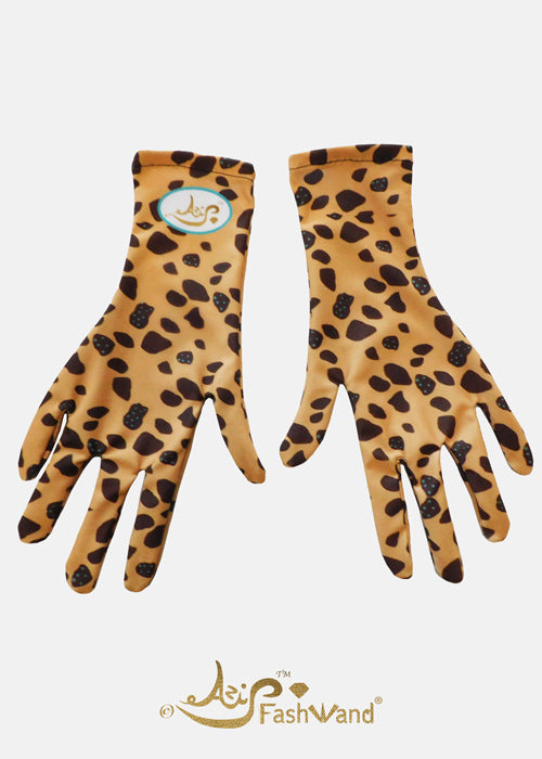 FashWand Silk Fashion Face Mask with Gloves Cheetah Jewels