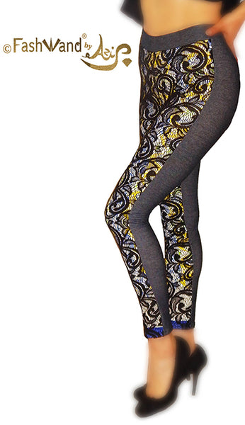 "FashWand Lace Arte Leggings in ""Yellow Crest"""