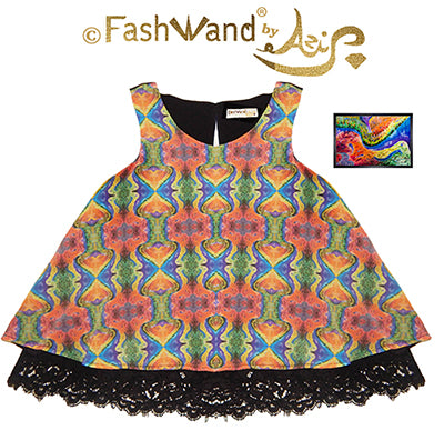"FashWand Scalloped Lace Trim Top in Silk Charmeuse ""Dancing Wave"" Painting"