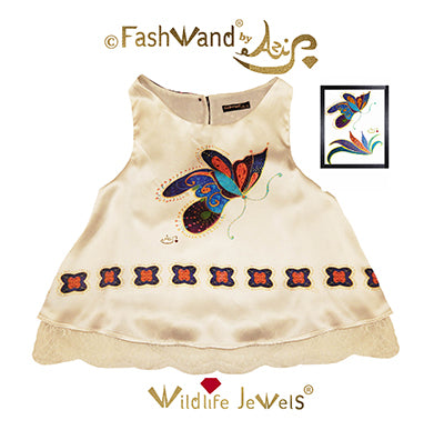 "FashWand Scalloped Lace Trim Top in Silk Charmeuse Wildlife Jewels ""Mandarin Garnet The Monarch Butterfly"""