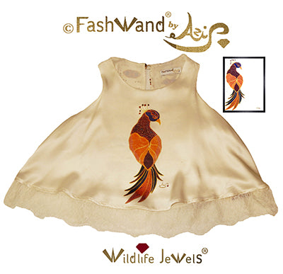 "FashWand Scalloped Lace Trim Top in Silk Charmeuse Wildlife Jewels ""Ruby The Six Plumed Bird of Paradise"""