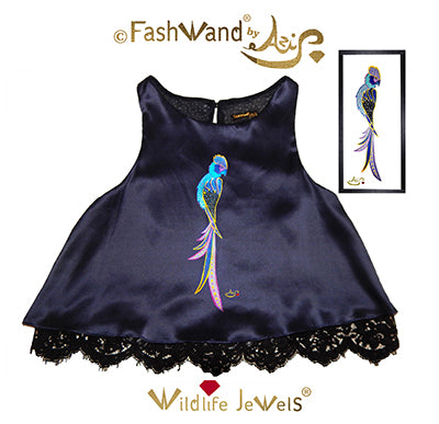 "FashWand Scalloped Lace Trim Top in Silk Charmeuse Wildlife Jewels ""Sapphire The Spix's Macaw"""
