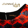 "FashWand Scalloped Lace Trim Top in Silk Satin ""Scarlet Sea Pens"""