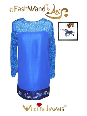 "FashWand Butterfly Dress in Silk Georgette  ""Lapis Lazuli Jewels"""