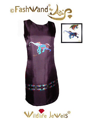 "FashWand Arte Dress in Silk and Velvet ""Lapis Lazuli The Elephant"""