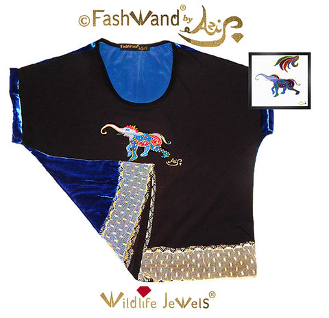 "FashWand Jeweled Embroidery Wool & Silk Velvet Scalloped Lace Top ""Lapis Lazuli The Elephant"""