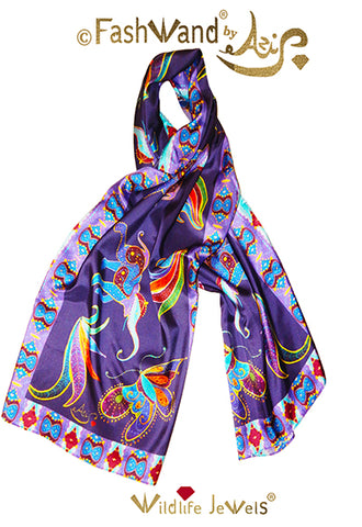 "FashWand 22 x 70 Arte Scarf  in Silk Twill ""Mandarin Garnet The Monarch Butterfly"""
