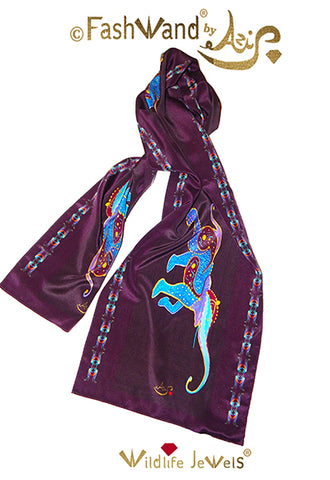 "FashWand 15 x 68 Arte Scarf  in Silk ""Lapis Lazuli The Elephant"""