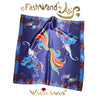 "FashWand 25 x 25 Arte Scarf in Silk Satin Wildlife Jewels ""Lapis Lazuli The Elephant"""