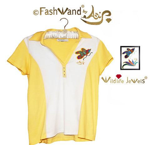 "FashWand Jeweled Embroidery Cotton Polo- ""Mandarin Garnet The Monarch Butterfly™"""