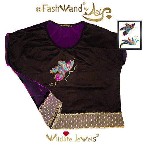 "FashWand Jeweled Embroidery Wool & Silk Velvet Scalloped Lace Top ""Mandarin Garnet The Monarch Butterfly"""