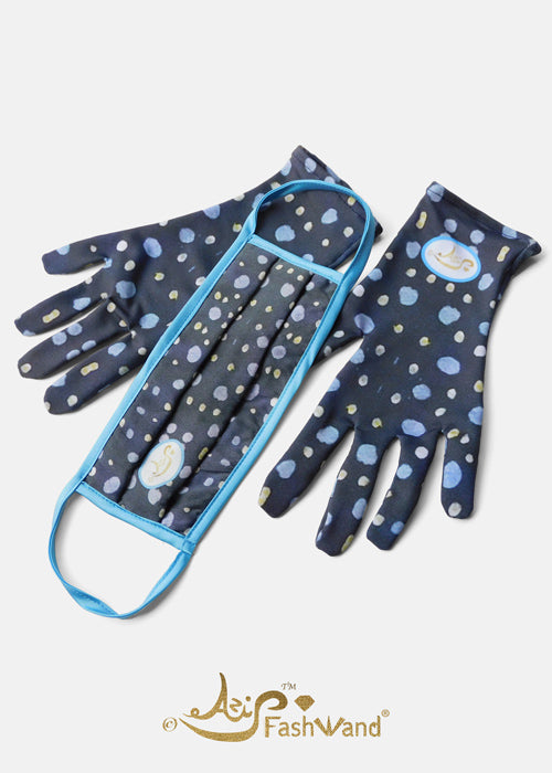 FashWand Silk Fashion Face Mask with Gloves Sapphire Jewels