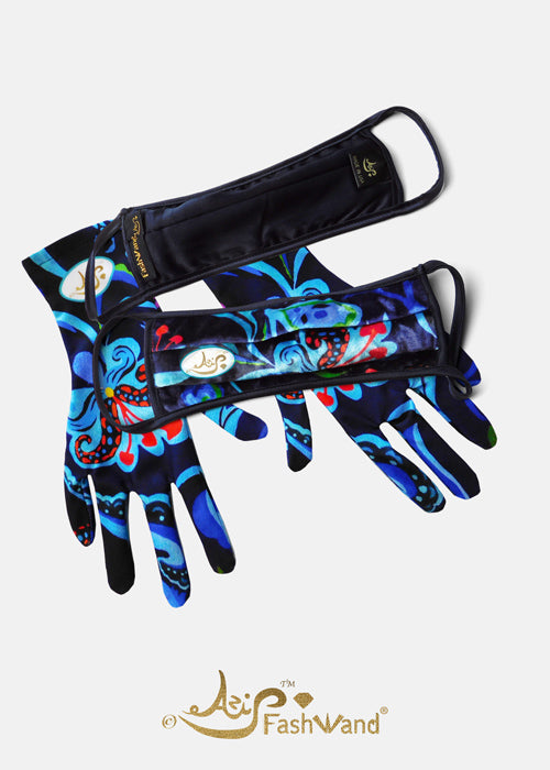 FashWand Velvet Fashion Face Mask with Gloves Dancing Flower