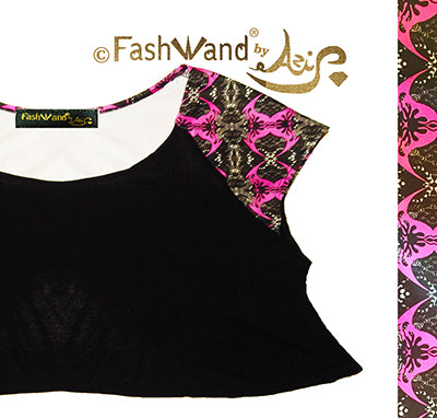 "FashWand Sheer Crop Arte Top ""Pink Crest"""
