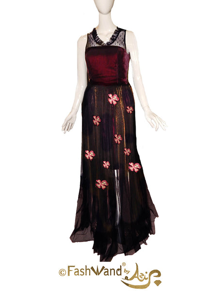 FashWand Royal Pink Dianthus Flower Jeweled Lace Appliqué Silk Tulle Gown