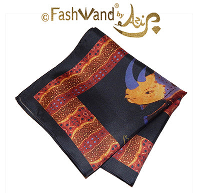 "FashWand Men's Arte Pocket Square in Silk Twill ""Alexandrite The Rhino"" Violet Jewels"