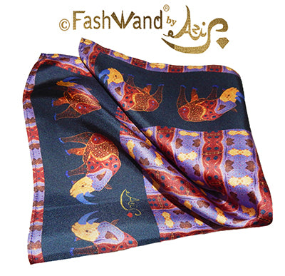 "FashWand Men's Arte Pocket Square in Silk Twill ""Alexandrite The Rhino"" Crown"