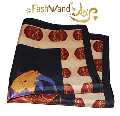 "FashWand Men's Arte Pocket Square in Silk Twill ""Alexandrite The Rhino"" Golden Jewels"
