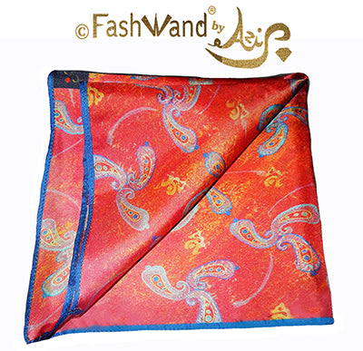 "FashWand Men's Arte Pocket Square in Silk Twill ""Blue Coral"""