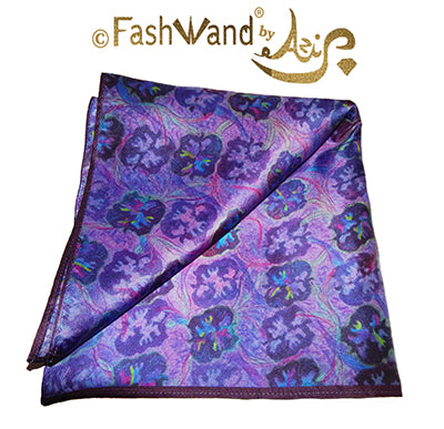 "FashWand Men's Arte Pocket Square in Silk Twill ""Lavender Sea"""