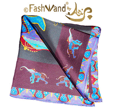 "FashWand Men's Arte Pocket Square in Silk Twill ""Lapis Lazuli The Elephant"" Violet Jewels"